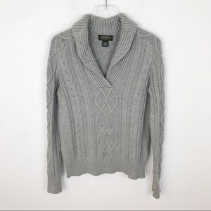 Eddie Bauer Grey Cable Knit Pullover Wool Sweater
